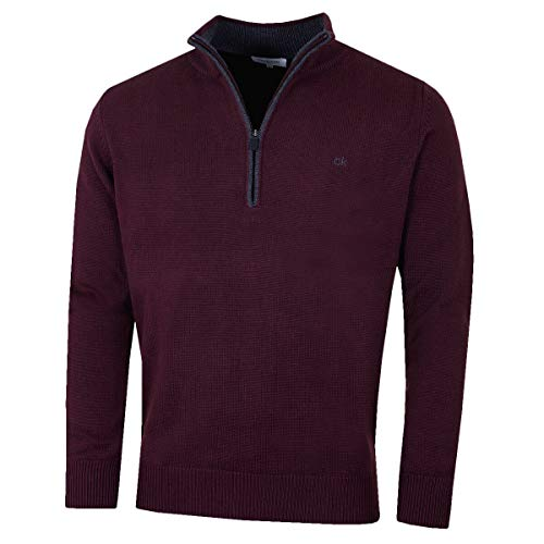 Calvin Klein Golf Mens Chunky Cotton 1/2 Zip Sweater - French Burgundy - L