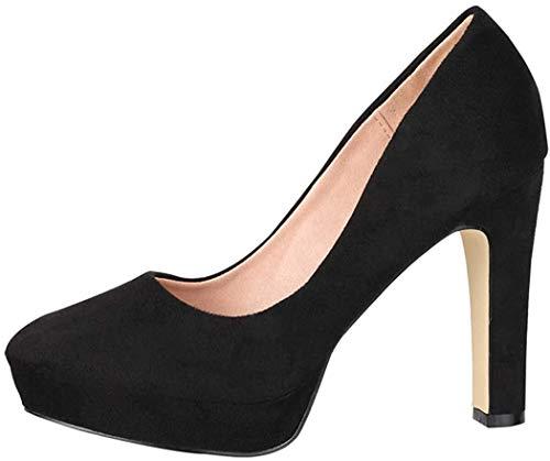 Elara Damen Pumps High Heels Vintage Abendschuh Chunkyrayan E22360-Black-40