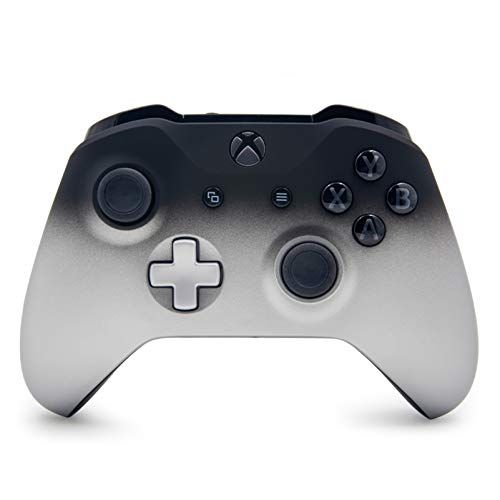 Silver Shadow Custom Wireless Controller for Xbox One Console - Textured Grip - 3.5mm Headset Jack - Silver D-pad - Grey on Black ABXY