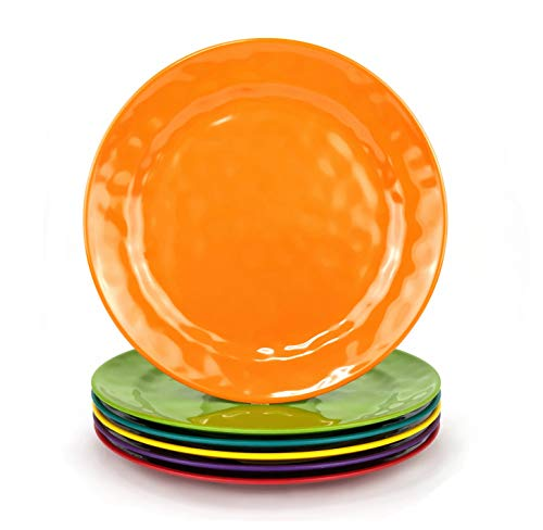 Melamine Plates set -10inch 6pcs 100% Melamine Dinner Plates for Everyday Use, Break-resistant and Lightweight, MultiColor
