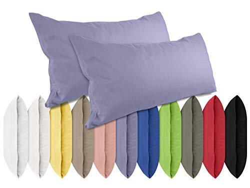 npluseins Renforcé-Kissenbezüge im Doppelpack - 100% Baumwolle – schlicht und edel im Design, in 11 Uni-Farben, 40 x 80 cm, Jeansblau