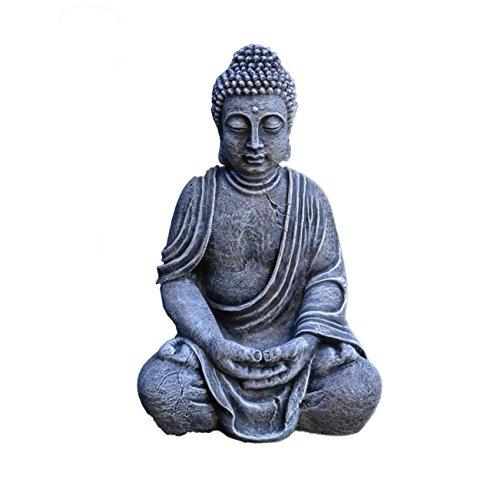 gartendekoparadies.de Massive Steinfigur Buddha Statue aus Steinguss frostfest (Mehrfarbig)