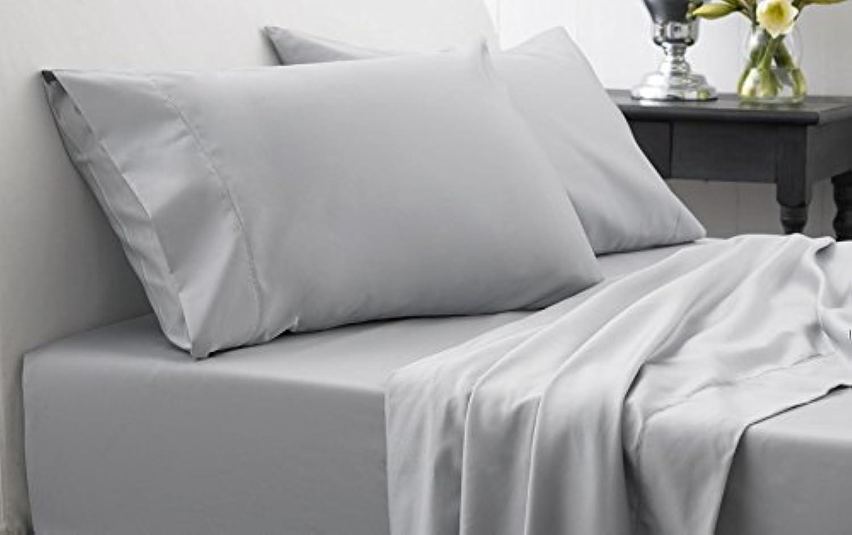 Dreamz Bedding Super agréable 600-thread-count Coton égypcravaten de lit 45,7cm Poche Profonde suppléHommestaire Euro L Unique, gris Argent Massif, 600tc 100% Coton Parure de lit