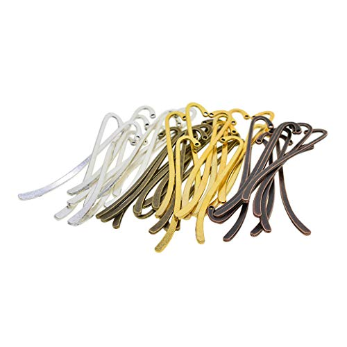 Prettyia 40 Pieces Antique Bronze/Red Copper/Gold/Silver Colors Mixed Bookmark Hooks Beading Book Marks Jewelry Making Findings DIY Pendant Necklace Craft 87mm