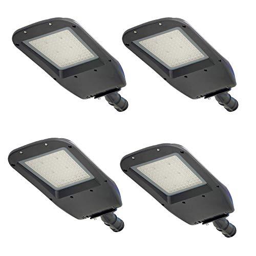 4Pack LED Parking Lot Lights 100W Shoebox Pole Light Outdoor, 1-10V Dim, 5000K Cool White, 100-277V AC IP65 Area Street Court Shoe Box Security Lighting Fixture