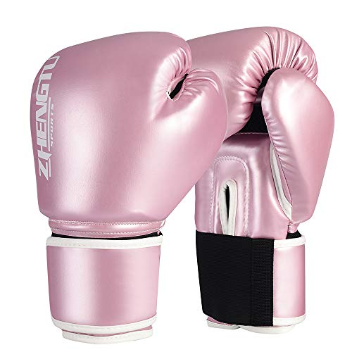 ZTTY Boxing Gloves Kickboxing Muay Thai Punching Bag Mitts MMA Pro Grade Sparring Training Fight Gloves for Men & Women (Y-Pink, 8oz)
