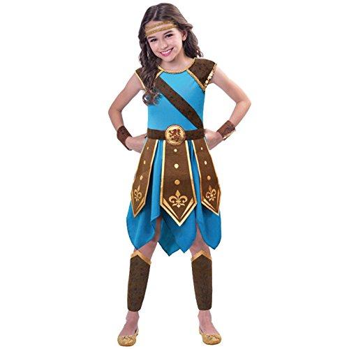 amscan 9903202 - Disfraz de guerrero azul con puños y cubrepiernas para niñas de 7 a 8 años, color no sólido, 7 a 8 años