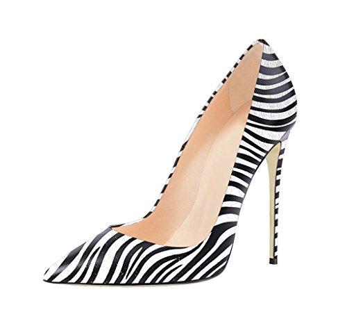 EDEFS Damen 12cm High Heel Pumps Zebra Tiermuster Schuhe Größe EU43
