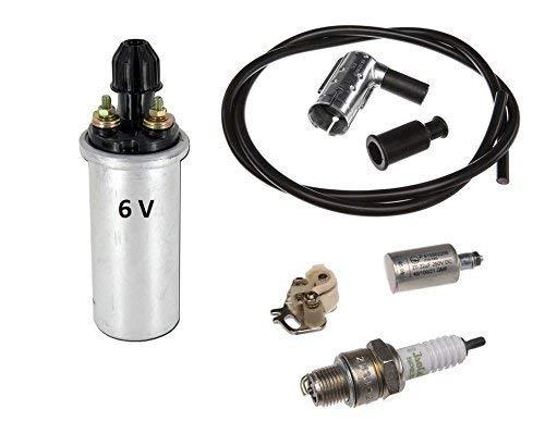 6-teiliges Zündungs-Set 6V mit Zündspule Kondensator für Simson Schwalbe, Star, DUO, S50 S51