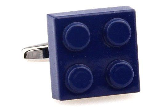 Gemelolandia | Gemelos Ficha Lego Cuadrado Azul Oscuro Gemelos Originales Para Camisas | Para Hombres y Niños | Regalos Para Bodas, Comuniones, Bautizos y Otros Eventos