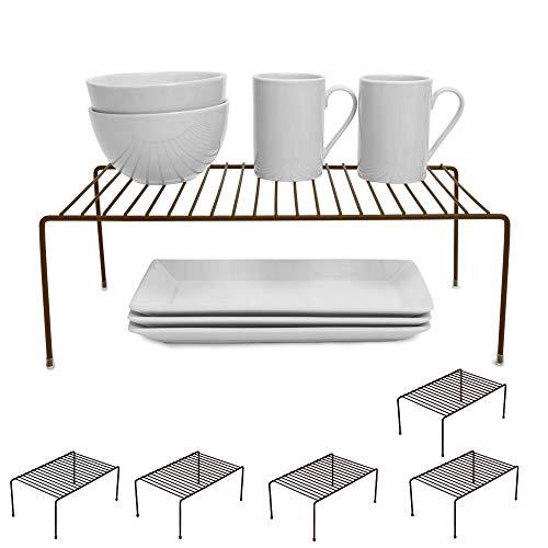 Smart Design Cabinet Storage Shelf Rack - Large (8.5 x 16 Inch) - Steel Metal Wire - Cupboard, Plate, Dish, Counter & Pantry Organizer Organization - Kitchen [Bronze] - Set of 6