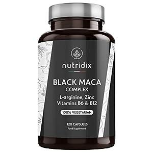 Nutridix Maca Negra Andina 1.200 mg por Dosis - Extracto Equivalente a 24.000 mg de Maca Planta concentrada 20:1 con L-Arginina, Vitamina B6, B12 y Zinc - 120 Cápsulas
