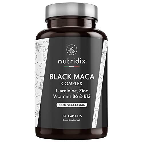 Maca Schwarz 1.200mg pro Dosis - Extrakt Entspricht 24.000 mg Maca Konzentrierte Pflanze 20:1-100{9af4479fc91a6069a036770851cb9cf94c4804a7c79e5f9e220e308c96d51f79} Vegetarische Formel mit L-Arginin, Vitamin B6, B12 und Zink - 120 Kapseln Nutridix