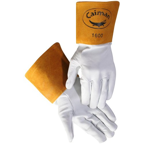 Caiman White Goatskin, Long Cuff, Welding-Tig/Mig Medium