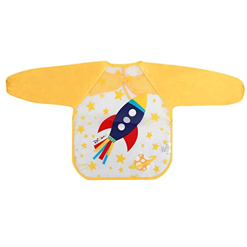 Aisa - Delantal Impermeable de Manga Larga para niños, Yellow Spaceship