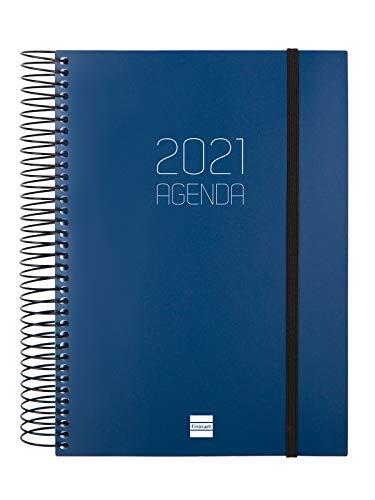 Finocam - Agenda 2021 1 Día página Espiral Opaque Azul Español - 175 x 212 mm