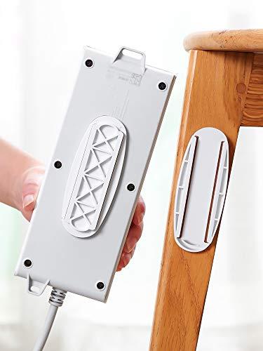 ZADAI Fijador del sostenedor de la tira de energía,Soporte autoadhesivo de la tira de la energía,Sin agujero Plug-in etiqueta engomada
