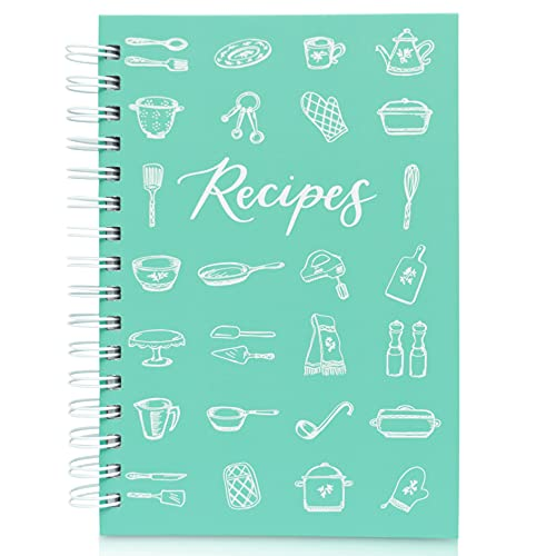 """Teal Petal Blank Recipe Book To Write In Your Own Recipes - Recipe Journal, Hardcover Recipe Notebook Cookbook Wedding Bridal Shower Gift for Bride Engagement Gift Box, 5.75x8.75"""" Teal Utensils"""