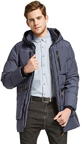 Orolay Men s Thickened Down Jacket Hooded Winter Coats with 6 Pockets Blue 2XL product image