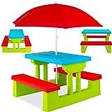 KESSER Kindersitzgruppe mit Sonnenschirm Kindertisch Picknickset | Sitzgarnitur Tisch und Bänke | Sitzgruppe Kindermöbel Gartenmöbel für Kinder Grün