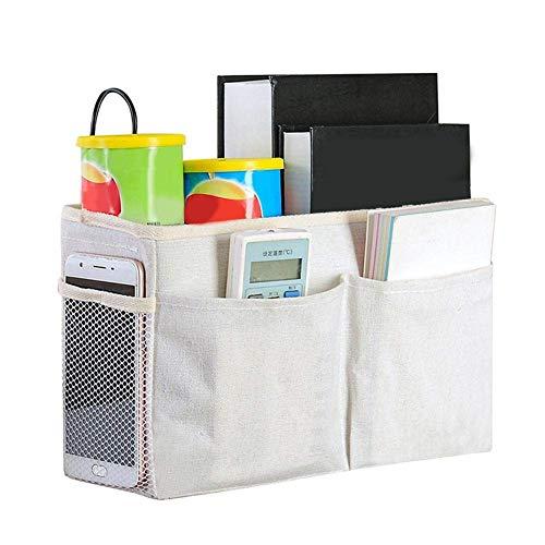 Meiruyu Bedside Hanging Storage Basket. Canvas Multifunctional Bedside Tidy Bag Hanging Storage Organizer. Home Sofa Desk Bed Storage Bag (White)
