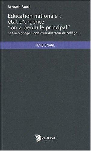 EDUCATION NATIONALE : ÉTAT D'URGENCE -