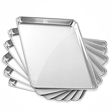 Gridmann 13  x 18  Commercial Grade Aluminium Cookie Sheet Baking Tray Jelly Roll Pan Half Sheet - 6 Pans