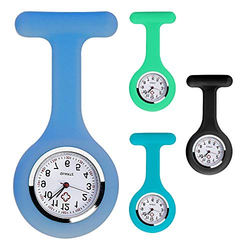 ERLINGO Juego de 4 broches de color para reloj de enfermera, reloj médico con broche, silicona con pin, clip, diseño de control de infecciones, cuidado de la salud, enfermera, médico, broche Sporter