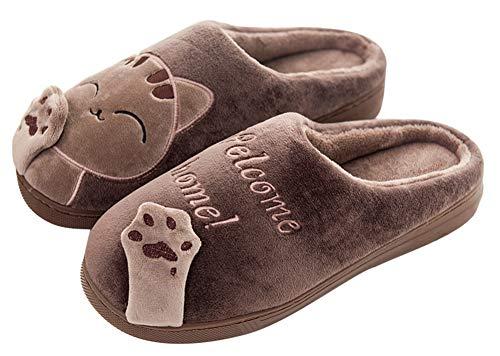 Scothen Unisex Lovely Cat Warm Halten Draussen Plüsch Home Innenbereich Schuhe Plüsch Baumwolle Pantoffeln Weiche Leicht Wärmehausschuhe rutschfeste Slippers Frauen Plüsch Soft Sole Indoor Slipper