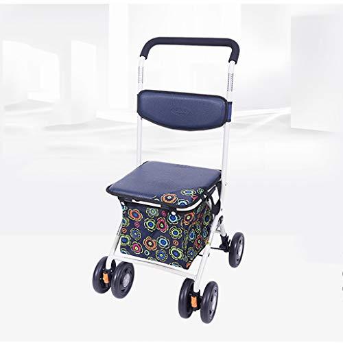 AI XIN winkel Heavy Duty Opvouwbare Kruidenier Winkelwagen Met stoel, Drive Medische Walker met mand en remmen, Rollator kar Met Opvouwbare Verwijderbare Rugsteun en Gecapitonneerde Stoel