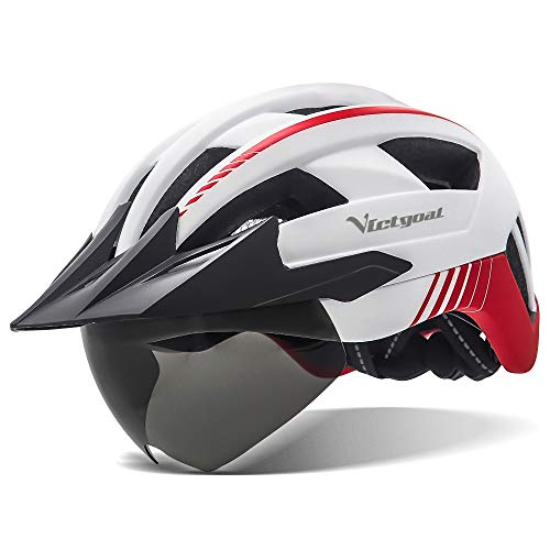 VICTGOAL Bike Helmet with USB Rechargeable Rear Light Detachable Magnetic Goggles Removable Sun Visor Mountain & Road Bicycle Helmets for Men Women Adult Cycling Helmets (White)