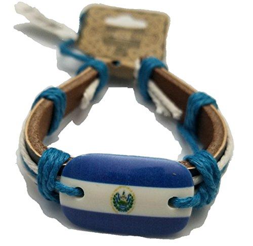 BUNFIREs El Salvador Flag Bracelet Wrist Bracelets Leather Hand Chain Handchain Jewelry El Salvadorian
