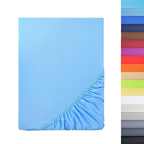 NatureMark - Sábana Bajera Ajustable de Microfibra Tamaños, Precio Especial! 100% Poliéster, Azul Claro 120 x 200 cm