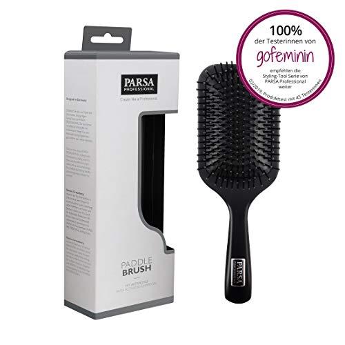 PARSA BEAUTY Paddle Brush 100-1L - Haarbürste zum Glätten und Kämmen, Cleaning-Borsten mit Aktivkohle angereichert, Bürste für lange Haare