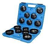 ECD Germany Juego de Llaves para Filtro de Aceite Adaptador de Tapas Kit de Llaves de Vaso Herramientas Mecánicos Set de 15 Piezas Cazoletas Incluye Maletín de Transporte