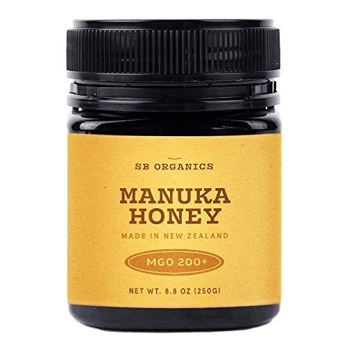 SB Organics Manuka Honey MGO 200+ - 8.8 oz Jar of Raw Unfiltered Authentic Premium New Zealand Manuka Honey