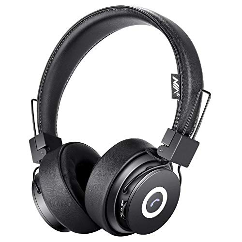 Bluetooth Headphones On Ear, Hi-Fi Stereo Foldable Over-Ear Headset with Microphone, APP to Control Headphones, Soft Earmuffs Support SD Card FM Radio Wired and Wireless Headset for Kids Adults, Black