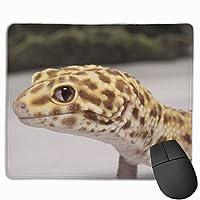 かわいいヒョウモントカゲモドキ マウスパッド 25x30cm レーザー&光学マウス対応 防水/洗える/滑り止め 中型 ブラック