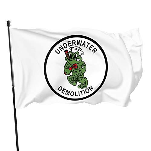 YKOUVXF UDT Navy Seal Flag 3x5 Ft Fade Resistant Decorative Flag Banner Breeze Flag Home Garden Flag