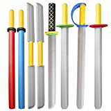 Rainbow yuango Toy Sword for Boys, 8 Pack 22' Foam Swords Set Warrior Weapons Toy Pretend Playset for Kids Different Designs Including Laser, Samurai, Ninja, Two-bladed Swords.