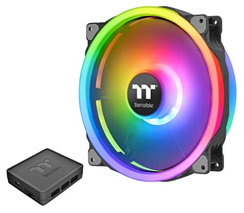 Thermaltake Riing Trio 200mm 16.8 Million RGB Color (Alexa, Razer Chroma) Software Enabled 3 Light Rings 60 Addressable LED 11 Blades Hydraulic Bearing Case/Radiator Fan, Single Pack, CL-F083-PL20SW-A