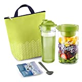 Komax Lunchmate Insulated Lunch Bag For Women - Thermal Lunch Box Kit: Salad Container (1000ml), Fruit Infuser Water Bottle (600ml), Spoon/Fork & Ice Pack | Small Lunch Tote for Work & School - Green