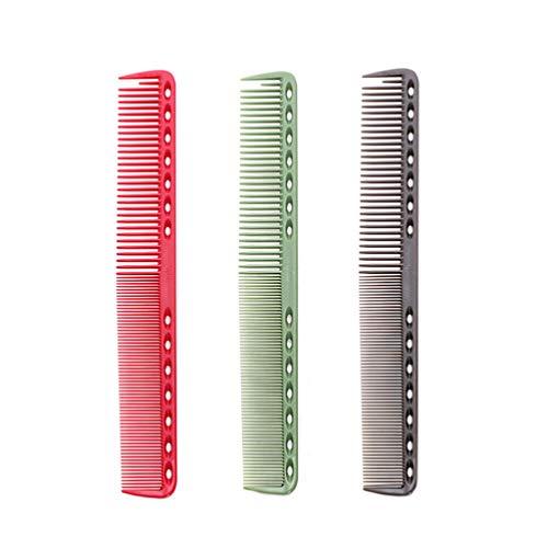Minkissy Pettini da Parrucchiere 3 Pezzi Pettini da Barbiere Professionali Pettini da Parrucchiere per Uomo E Donna (Grigio Rosato E Verde)