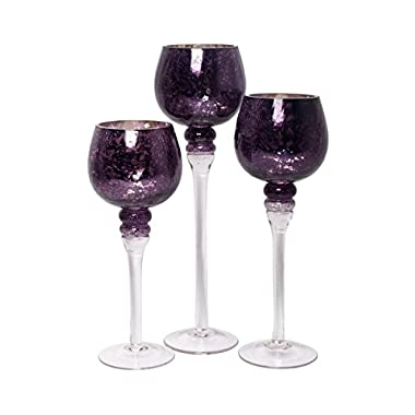 Hosley's Set of 3 Crackle Purple Glass Tealight Holders (9 , 10 , & 12  High). Ideal Gift for Weddings, Special Events, Parties. Also Makes a Great Gift. O3