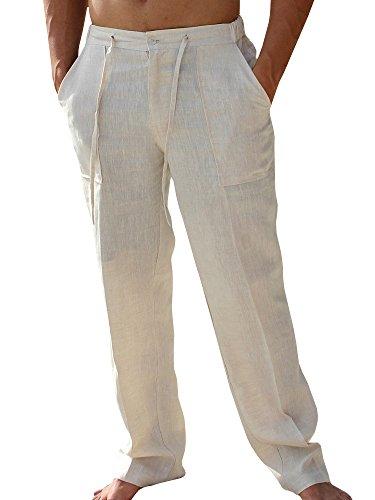 Enjoybuy Mens Casual Linen Pants Elastic Drawstring, 01-beige, Size XX-Large