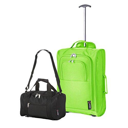 Set Ryanair Cabin 55x40x20 cm, approvato, e secondo bagaglio a mano, 35x20x20. Portatele entrambe con voi! (Verde + Nero)