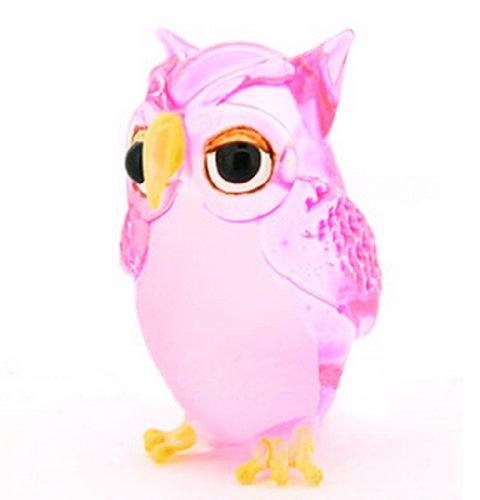 Lampwork Collectible Miniature Hand Blown Art Glass Single Owl Pink Figurine