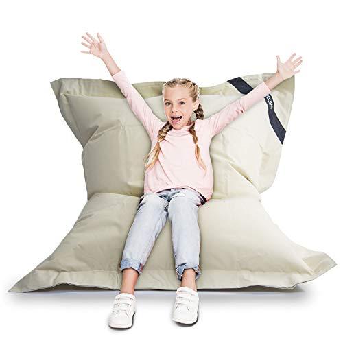 LAZY BAG Original Indoor & Outdoor Sitzsack XL 250 Liter Riesensitzsack Junior-Sitzkissen Sessel für Kinder & Erwachsene 160x120 (Beige)