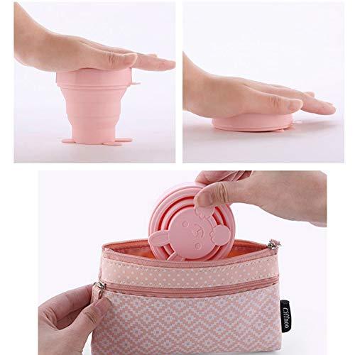 Julymall Inklapbare Siliconen Beker voor Thuisreizen Gebruik Steriliserende Menstrual Bekers en Bewaar Je Beker Opvouwbare Siliconen Beker 1 Stuk Roze