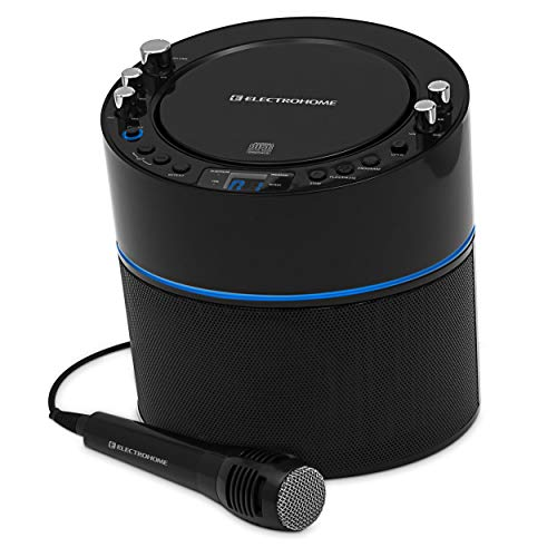 Electrohome Karaoke Machine Speaker System CD+G Player with 2 Microphone Connections, Singing...